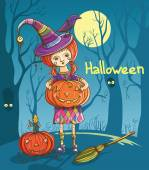 Halloween girl witch — Stock Vector
