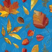 Vector seamless pattern with autumn set leaves, nuts, tree. — Stock Vector