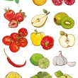 Vector set of fresh vegetables, fruits and berries — Stock Vector #64399603