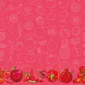 Set of red fruits and vegetables on light red background — Stock Vector
