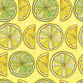 Seamless vector pattern with lemon and lime — Stock Vector