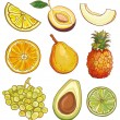 Vector set with fruits and berries: yellow, green and orange — Stock Vector #67831435