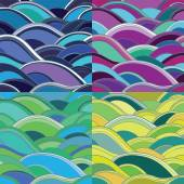 4 variants of abstract seamless background with waves — Stock Vector