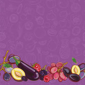 Set of purple and pink fruits and vegetables on light purple sea — Stock Vector