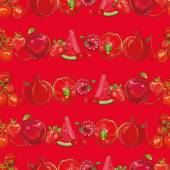 Set of red fruits and vegetables on light red seamless vector pattern. — Stock Vector