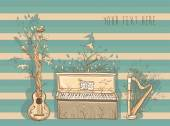 Vector illustration of live music with guitar, piano, harp. — Stock Vector
