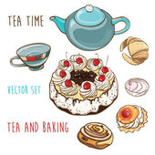 Tea time. Vector set of pastry, baking, teapot and cup. — Stock Vector