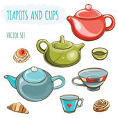 Vector illustration set of teapots, cups and buns. — Stock Vector