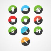 Set business web icon — Vector de stock