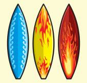 Three colorful surf boards — ストックベクタ