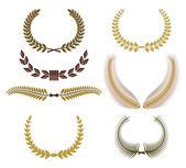 Set of laurel wreaths for design — Stock Vector