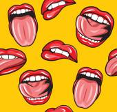 Mouth pop art vector seamless pattern — Stock Vector