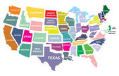 USA map with states — Stock Vector