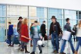 Shoppers Rushing through Corridor, Motion Blur — Stock Photo