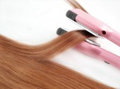Hair wound on the curler — Stock Photo