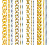 Set of realistic vector gold and silver chains — Stock Vector