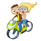 オートバイをカップルします。 — ストックベクタ