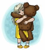 Little blond girl with teddy bear — Stock Vector