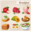 Set of different food icons. Breakfast. — Stock Vector #53083781