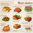 Set of food icons. Meat dishes. — Stock Vector #53083849