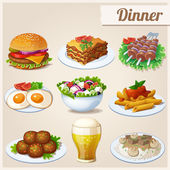 Set of food icons. Dinner. — Stock Vector