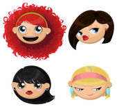 Set of 4 cartoon female heads — Stock Vector