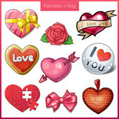 Set of candy hearts icons for Valentines Day — Stock Vector