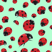 Summer seamless pattern with ladybirds — Stock Vector