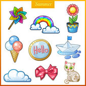 Summer set of cartoon candy icons. — Stock Vector