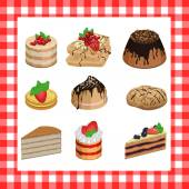 Set of sweet appetizing cakes on a red plaid background — Stock Vector