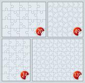 Puzzle set 20, 24, 49, 120 pieces — Stock Vector