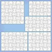 Puzzle set: 24, 28, 30, 35, 36 pieces. Outline vector jigsaw. — Stock Vector