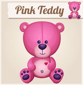 Pink teddy bear. Cartoon vector illustration. Series of childrens toys — Stock Vector