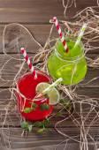 Drinks in Mason Jar — Stock Photo
