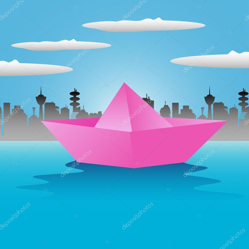 bateau en papier rose image vectorielle oxlock 52687373. Black Bedroom Furniture Sets. Home Design Ideas