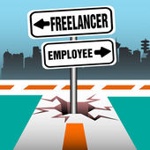 Freelancer employee signpost — Stock Vector