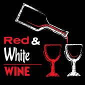 Red and white wine — Stock Vector