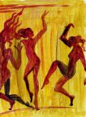 Dancing girls in abstract style — Fotografia Stock