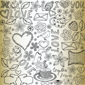 "Beautiful vector seamless pattern with the words of love, flowers and hearts, ""handwritten on the old paper"" — Stockvektor"