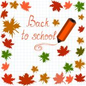 "Vector background with maple leaves, words ""Back to school"" and pencils — Stockvektor"