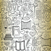 "Beautiful vector seamless pattern with words of love, books and letters, ""handwritten on the old paper"" — Stock Vector"