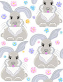 Beautiful vector seamless pattern with bunnies — Stock Vector