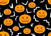 Halloween vector seamless pattern with pumpkins and bats — Stock Vector