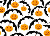 Halloween vector seamless pattern with flying bats and pumpkins — Stock Vector