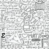 """Beautiful vector seamless pattern """"I love math"""", """"handwritten on a copybook paper"""" — Stock Vector"""