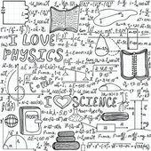 "Beautiful vector seamless pattern ""I love physics"", ""handwritten on a copybook paper"" — Stock Vector"