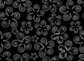 Beautiful black and white vector seamless pattern with curling flowers — Stock Vector