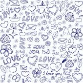 Beautiful vector seamless pattern with handwritten on the copybook paper words of love and other funny drawings — Stock Vector