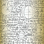 """Beautiful vector seamless pattern with mathematical figures and plots, """"handwritten on the old copybook paper"""" — Stock Vector"""