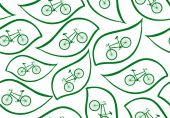 Vector seamless pattern with bikes and green leaves — Stock Vector